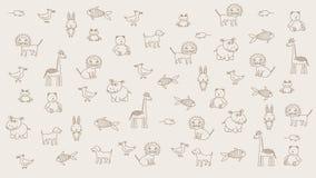 Animowani doodle zwierzęta, dzieciaka lekki tło Substrat dla tytułów i inny, zawartość elementy projektu podobie?stwo ilustracyjn royalty ilustracja