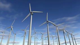 Animowani silniki wiatrowi w windfarm Sprawnie 4K ilustracja wektor