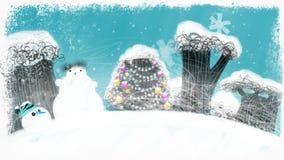 Animowany Śnieżny Bożenarodzeniowy las