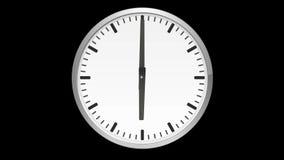 Animowany analogowy zegar, czasu upływ na czarnym tle, ilustracji