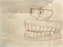 Animowany denture z antyk bazą ilustracja wektor