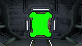 Animowany korytarz Drzwi z zieleń ekranem 4K i alfa matte ilustracja wektor