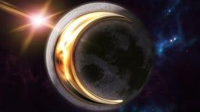 Animowany księżyc zodiaka horoskopu symbol i planeta 3D odpłaca się 4k ilustracja wektor