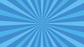 Animowany obracanie zapętlał tło wektorowy niebieska linia kształta lampas Ruchu słońca promienia połysku graficzny promień Sunbu ilustracji