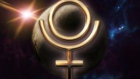 Animowany Pluto zodiaka horoskopu symbol i planeta 3D odpłaca się 4k ilustracja wektor