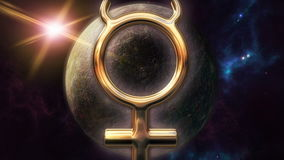 Animowany rtęć zodiaka horoskopu symbol i planeta 3D odpłaca się 4k ilustracja wektor