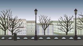 Animowany tło Europejska miasto ulica z budynkami, drzewami i lampposts, Płaska animacja, paralaksa footage royalty ilustracja