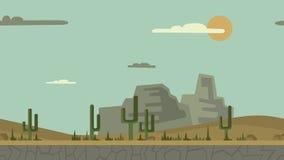 Animowany tło Pustynny krajobraz z kaktusami, kamieniami i górami, Płaska animacja, paralaksa footage royalty ilustracja