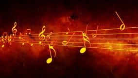 Animowany tło z muzykalnymi notatkami, muzyk notatki