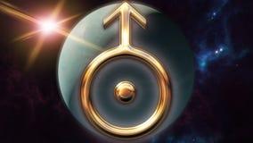 Animowany Uranus zodiaka horoskopu symbol i planeta 3D odpłaca się 4k ilustracja wektor