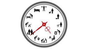 Animowany zegar odizolowywający na białym tle Płynnie pętle Czasu upływ 2d animacja royalty ilustracja