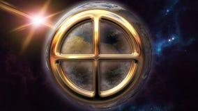 Animowany ziemski zodiaka horoskopu symbol i planeta 3D odpłaca się 4k ilustracji