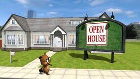 24 animującego kreskówka misia pluszowego chodzi od domu próbuje sprzedawać ilustracja wektor