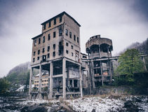 Anina city, Romania. Abandoned old mine in winter time Royalty Free Stock Photo