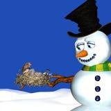 Aninhamento do boneco de neve e dos pássaros ilustração royalty free