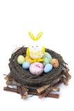 Aninhe com ovos da páscoa coloridos e o coelho, isolados Imagens de Stock