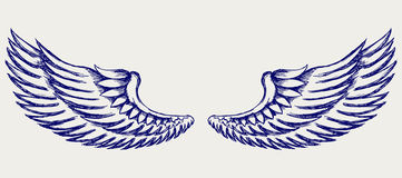 Aniołów skrzydła. Doodle styl Obraz Royalty Free