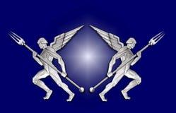 anioł art deco widelce ramy srebra w Obraz Royalty Free