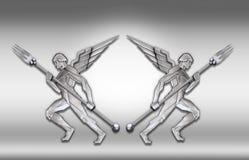 anioł art deco widelce ramy srebra w Fotografia Stock