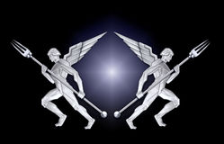 anioł art deco widelce ramy srebra w ilustracji