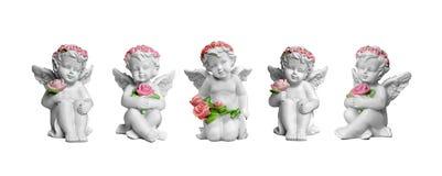 Anioł figurki odizolowywać na bielu obrazy stock