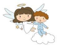 Anioł i chłopiec w piżamach royalty ilustracja