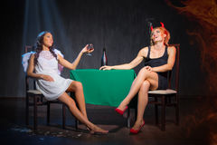 Anioł i diabeł z brandy Fotografia Stock