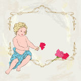 Anioł i róże Zdjęcia Stock