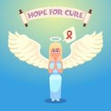 Anioł jest ubranym różowego faborek nowotwór piersi lekarstwa walki znaleziska funduszu pocztowy znaczek Obraz Royalty Free