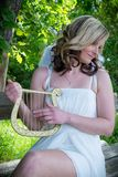 Anioł kobieta z harfą Obraz Stock