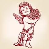 Anioł lub amorek, mały dziecko trzymamy bukiet kwiaty, kartka z pozdrowieniami ręka rysujący wektorowy ilustracyjny realistyczny  Obraz Stock