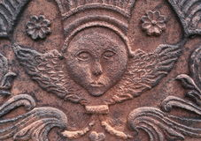 Anioł rzeźbiący w czerwonym piaskowu Obrazy Royalty Free