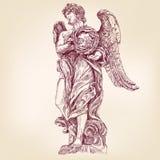 Anioł trzyma koronę ciernie wręcza patroszonego wektorowego llustration Fotografia Stock