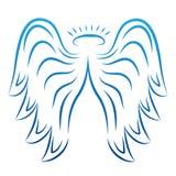 Anioł uskrzydla rysunkową wektorową ilustrację Oskrzydlone anielskie tatuaż ikony Skrzydłowy piórko z halo, artystyczny grafiki n ilustracja wektor