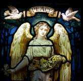 Anioł z gołąbkami i pokojem zdjęcia royalty free