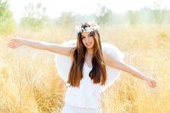 anioła śródpolnej dziewczyny złoci biały skrzydła Obraz Royalty Free