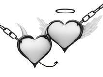 Anioła i diabła serca Zdjęcie Royalty Free