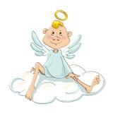 Anioła obsiadanie na chmurze Obrazy Royalty Free