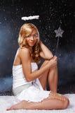 anioła pięknej dziewczyny chwały magiczny kij Fotografia Stock