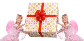 anioła pudełka pary prezent zdjęcia royalty free