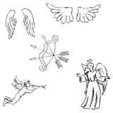 Aniołowie Cebule i skrzydła Ołówkowy nakreślenie ręką Obrazy Royalty Free
