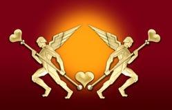 anioł art deco ramy złotego serca Obrazy Royalty Free