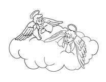 Aniołowie na chmurze, wektorowa ilustracja Obraz Royalty Free