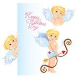aniołowie ustawiający Elementy dla walentynka dnia karcianego projekta Zdjęcia Royalty Free