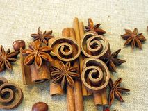 Anis and cinnamon. On linen fabric Royalty Free Stock Photography