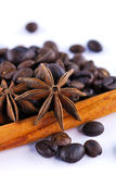 Anis, coffee and cinnamon Royalty Free Stock Images