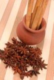 Anis d'étoile, bâtons de cannelle sur le contexte en bois Photos stock