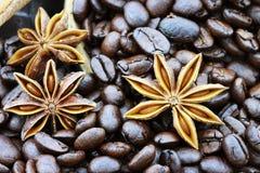 Anis d'étoile et grains de café photographie stock