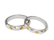 Anéis de casamento exclusivos do ouro branco e amarelo Fotografia de Stock