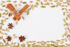 Anis för kanelbruna pinnar, kardemumma- och stjärna Bakgrundsram av kryddor Förberedelse för att skriva Royaltyfri Bild